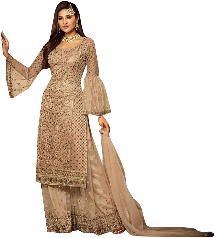 Beige Ramazan Eid Ethnic Embroidered Net Sharara Suit for Women Semistitched Pakistani Muslim dress 7825