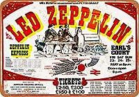 2個 8 x 12 CM メタル サイン - 1975 Led Zeppelin at Earl's Court 2 メタルプレート レトロ アメリカン ブリキ 看板