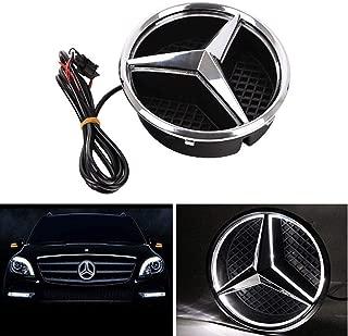 Bearfire LED Emblem Logo Grid LED Badge Front Light For Mercedes Benz A/B/C/CLS/E/GLK/GL/R Series (white, not transparent grid)