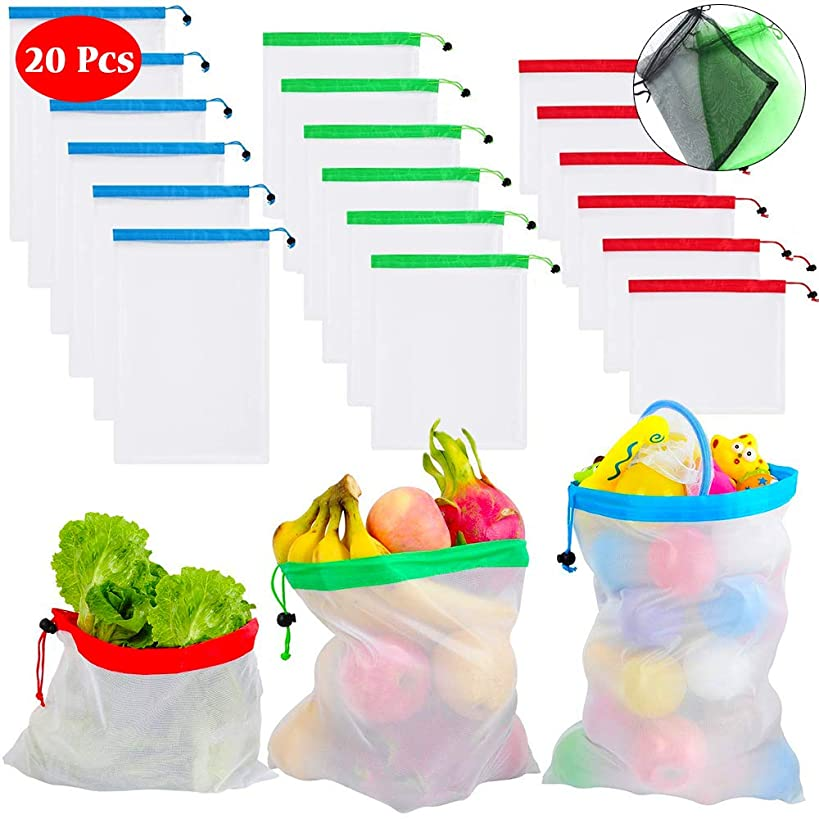 Mesh produce bags - Set of 20 - See-Through and Washable, Heavy-Duty, Reusable Mesh Bags Storage Totes for Grocery Shopping Fruits, Vegetables, Food and Toy (6L - 6M - 6S - 2XS)