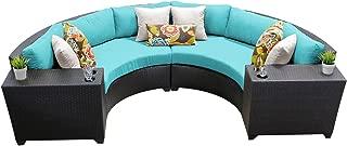 TK Classics 4 Piece Barbados Outdoor Wicker Patio Furniture Set, Aruba 04c