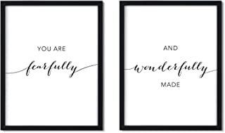 Andaz Press Unframed Black White Wall Art Decor Poster Print, Bible Verses, You are Fearfully and Wonderfully Made, 2-Pack, Unique Christian Christmas Birthday Gift for Him Her Nursery Kids Room