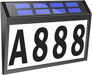T-SUNUS Solar House Number Sign Light Solar House Number Plaque Address Numbers for Houses IP44 Waterproof Solar Powered A...