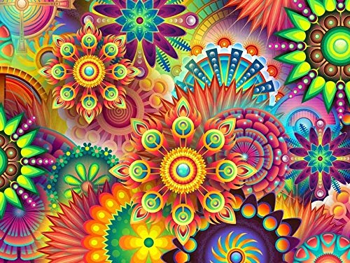 Jigsaw Puzzle Impossible, Very Difficult, Psychedelic Colors 1000 Pieces