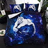 Erosebridal 3D Tiger Comforter Cover Set Galaxy Theme Bedding Set Cute Animal Printed Series Duvet Cover with Zipper Ties Universe Starry Sky Decor White Tiger Bedspread for Kids Teen Boys,Queen Size