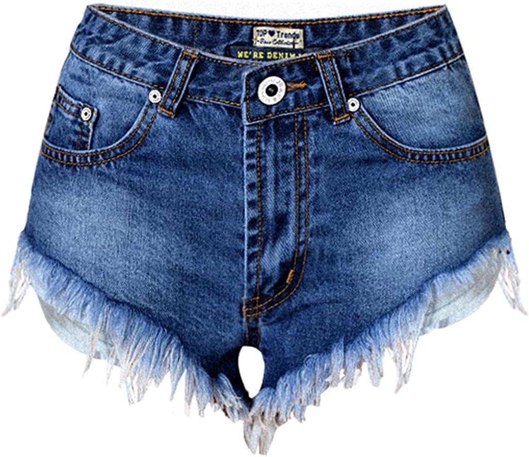 SBCDY Women's Destroyed Ripped Hole Denim Shorts Sexy Short Jeans Summer High Waist Denim Shorts Hole Tear Tassel Denim Shorts (Color : Blue, Size : 34)