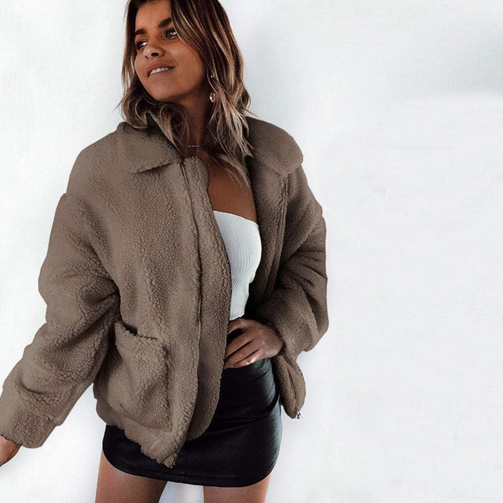 KTDZ Women's Loose Coat Autumn and Winter New Pocket Zipper Women's Thick Plush Jacket Jacket Casual Loose Solid Color Big Bubble Plush Short Coat Long Sleeve Lapel Warm Jacket