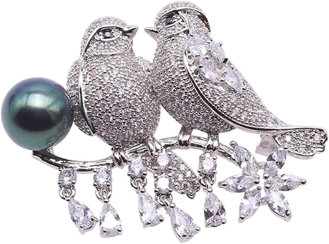 JYXJEWELRY Love Birds Tahitian Pearl 10mm Ranking TOP1 Brooch Animer and price revision AAA Peaco Round