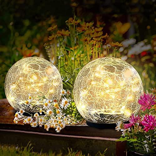 QXXZ Luces Solares Jardín,2 Pack LED Lamparas Solares Jardín,con Bola de Cristal Agrietada con Efecto de Ensueño,Impermeable Iluminación de Exterior Luz Decoración para Pasillo, Césped, Patio,Navidad