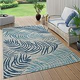 alfombra azul y beige