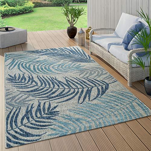 Alfombra De Tejido Plano Interior Y Exterior Moderna Jungla Diseño Palmeras Azul Pastel, tamaño:120x160 cm