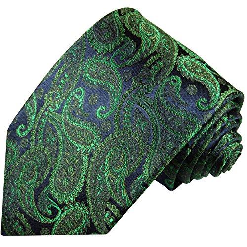 Cravate homme vert bleu paisley 100% soie