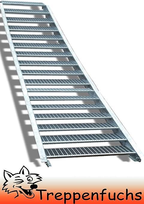 5 Stufen Stahltreppe mit einseitigem Gel/änder Inklusive Zubeh/ör Stabile Industrietreppe f/ür den Au/ßenbereich Breite 90cm Geschossh/öhe 70-105cm Robuste Au/ßentreppe Wangentreppe