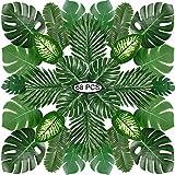 PietyPet 68 Stück 8 Arten Tropische Pflanze Palm Blätter Monsterablätter, Plastikpalmenblätter, künstliche Palmenblätter mit Stielen, für Hawaiische Luau Dschungel Strand Thema Tischdekoration