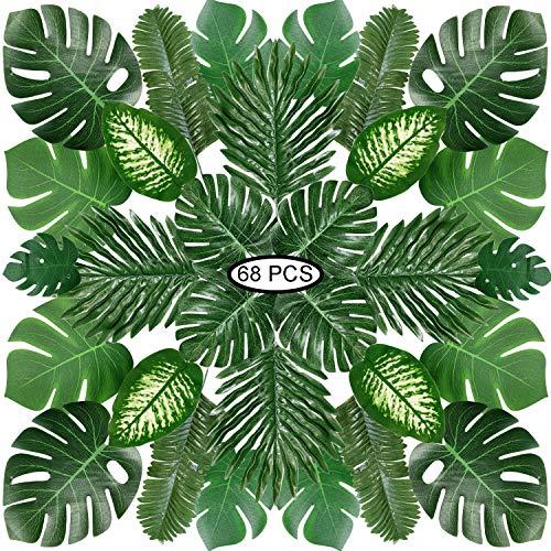 PietyPet Hojas de Palma Artificiales, 68 Piezas 8 Tipos Verde Plantas Artificiales, Falso Hojas de Monstera con Tallos para Luau, Fiestas Decoraciones Eventos, Bodas, Hawaiano
