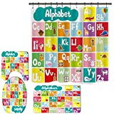Alphabet Shower Curtain for Bathroom, ABC Educational Shower Curtain Set with Non-Slip Rugs, Toilet Lid and Bath Mats, Kids Shower Curtain with 12 Hooks (B6)