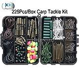 JSHANMEI  225pcs/mangas Set Kit de aparejos de pesca de carpas con emerillones/ganchos//tubos de goma/Clips de plomo/cuentas/Aparejos de Pelo/Cabello Extender Tapones Set