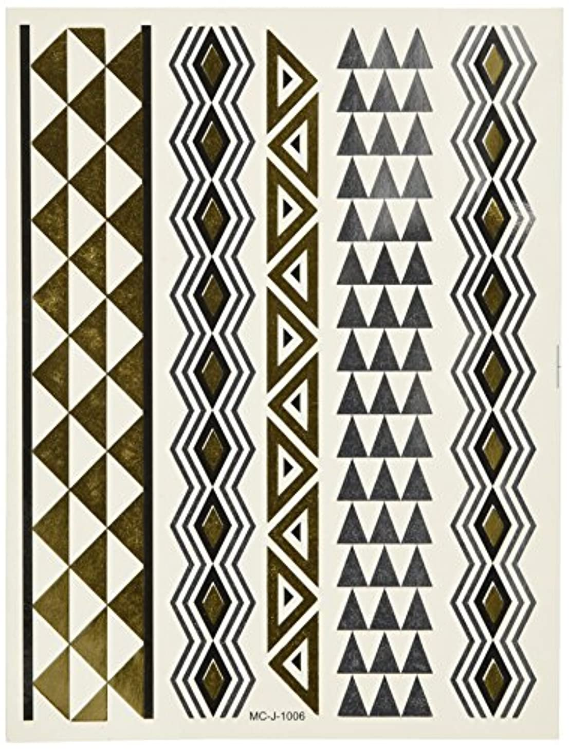Wrapables Large Metallic Gold and Silver Temporary Tattoo Stickers, Vector Triangle