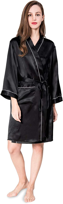 COLD POSH Women's 100% Silk Satin Robe Luxury Bathrobe Knee Length Sleepwear Sexy Solid color Nightgown