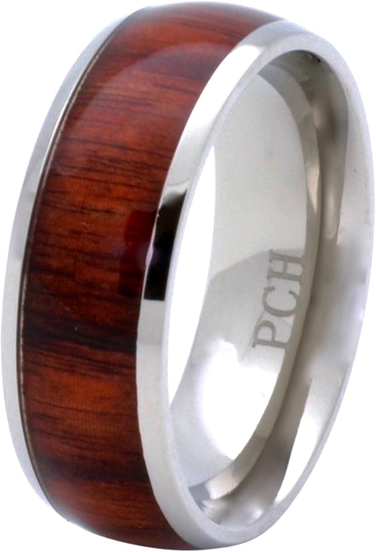 PCH Jewelers Titanium Hawaiian Koa Wood Inlay Ring Men's Women's Wedding Band 8MM