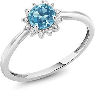 Gem Stone King 10K White Gold 0.55 Ct Round Swiss Blue Topaz and Diamond Engagement Ring (Available 5,6,7,8,9)