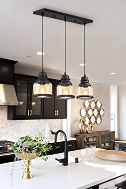 MOTINI 3-Light Linear Glass Pendant Light for Kitchen Island Hanging Lighting Fixture Chandelier for Dining Room, Black and A
