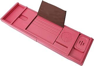 贅沢竹 バスタブトレー/調整可能 バスタブラック 棚 伸縮式 携帯電話 ラック ブックス ラック ワイングラス ラック 無料 せっけん-ピンク