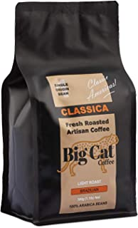 Boost Foodz - Big Cat Coffee - Classica - Artisan Fresh Roasted - Whole Beans - Gourmet Brazilian - Light Roast - American Style - 100% Arabica Coffee - 500g Bag - Australian Made