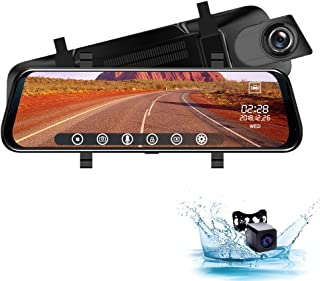 Rear View Mirror Dash Cam 10-Inch 1080P Full HD Touch Screen with 720P 140°Wide Angle Waterproof Rear View Camera, Front Rear Dual Lens Car DVR Driving Recorder, G-Sensor, Loop Recording [YoJetSing]