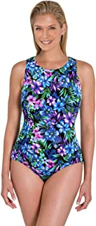 Aquamore Chlorine Resistant Mai Tai DD-Cup High Neck One Piece Swimsuit Size 12DD Blue