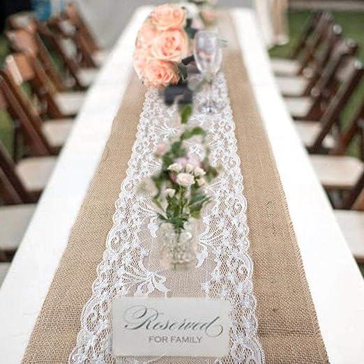 DENTELLE VINTAGE Table Runner Jute Rustique Ruban Mariage Fête Décoration Utilisation Ornement