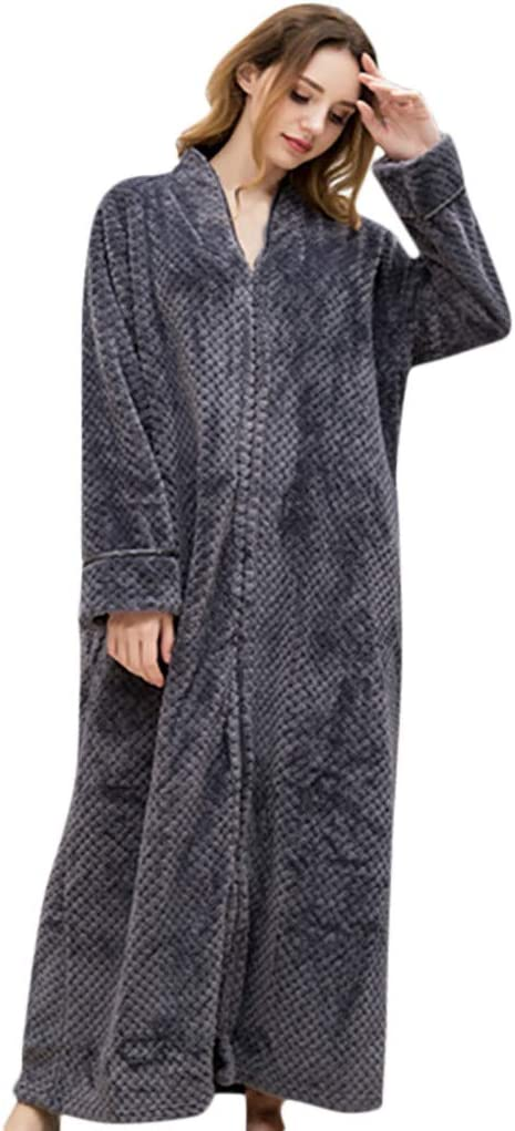 Details about  /Soojun Women/'s Waffle Fleece Soft Zip Up Front Bathrobe