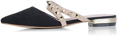 DIDIDD Bout Pointu Bout Plat Rivet Romain Sandales Paresseuses Mules Chaussures,Noir,35