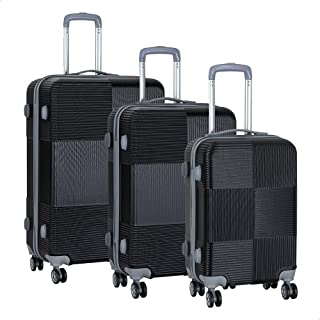JB Luggage Trolley Bags Set, 3 Pieces - Black
