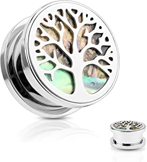 Inspiration Dezigns Pair of Tree of Life Top Steel Ear Expander Stretcher Plugs