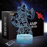Game Series Raven Skins Luz de noche para niños 3D ilusión lámpara táctil USB carga mesa escritorio iluminación con control remoto, regalos juguetes para niños niños (niños, niñas)