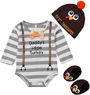 Baby Thanksgiving Outfit Newborn Daddy's Little Turkey Romper My 1st Thanksgiving Hat Turkey Socks Outfit Set