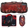 BlueFinger Gaming Keyboard Mouse Headset Combo,USB Wired Crack Backlit Keyboard,114 Keys Letters Glow LED Keyboard,Red LED Light Headset for Laptop PC Computer Work and Game