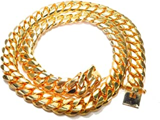 Traxnyc Genuine 14K Yellow Gold 36 Inches Heavy Miami Cuban Link Chain Necklace