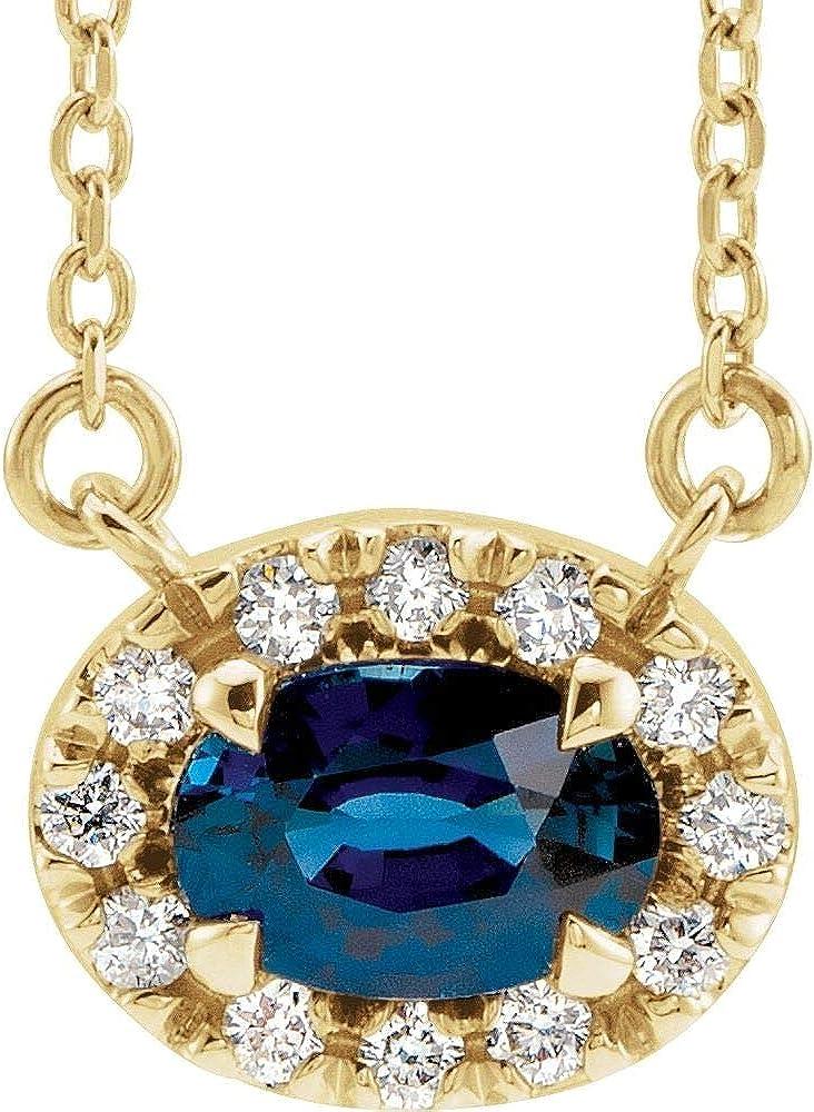 14kt Yellow Attention brand Gold 5x3mm Oval Blue Diamond Sapphire .05 18