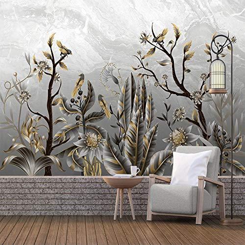 3D Papel Pintado Fotográfico 300(W)X210(H) cm Gris amarillo hojas animal pájaro Salón Dormitorio Despacho Pasillo Decoración murales decoración de paredes moderna