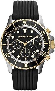 ساعة مايكل كورس ايفيريست سوداء للرجال بسوار من السليكون - MK8366