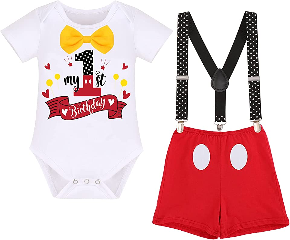 4PCS Infant Toddler Baby Boy 1st Birthday Cake Smash Outfits Mouse Costume Bowtie Romper + Y-Back Suspenders + Bloomers Shorts + Ear Headband Gentleman Clothes Photo Props