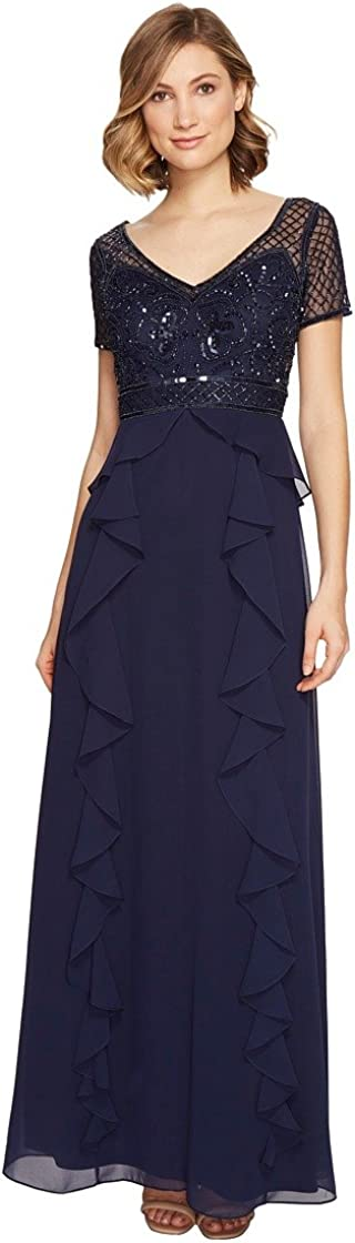 Adrianna Papell Women's Short Sleeve Gown with Beaded Bodice and Ruffle Skirt Detail