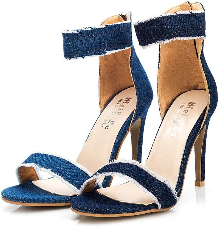 Sandalen Europa Und Amerika Damen Denim 10Cm Mode Sexy Wilde Nachtclub Wort Schnalle Sandalen Mit Hohem Absatz