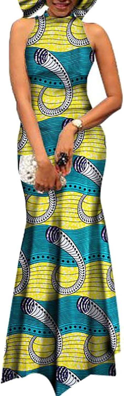 Alion Women's Sexy Sleeveless African Printing Maxi Dress