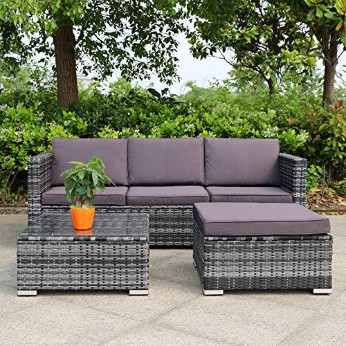Hansson Polyrattan Gartenmöbel Lounge Set Sitzgruppe Garnitur Poly Rattan inkl. Sofa Sessel Kissen Hocker Tisch mit Glas (1xEcksofa, 1xDoppelsofa rechts, 1xTisch & Hocker)