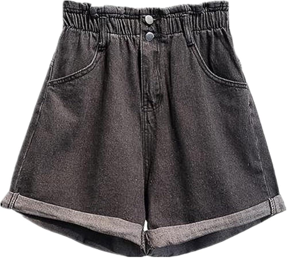 NP Summer Waist Denim Shorts Women Casual Loose Roll Up Hem Waist