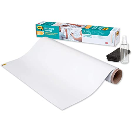 Post-it Flex Write Surface, Permanent Marker Wipes Away with Hydro Clean Technology, 6 ft x 4 ft, White Dry Erase Whiteboard Film (FWS6X4)