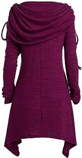 d6b5d9e60e Plus Femmes Hauts Élégant Casual Couleur Unie Ruché Longue Basic Col  Rabattable Tunique Pull Sweat Shirt